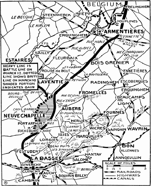 Map of Neuve Chapelle front line 1916
